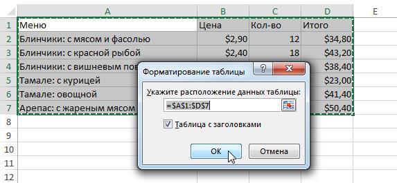 Таблицы в Excel