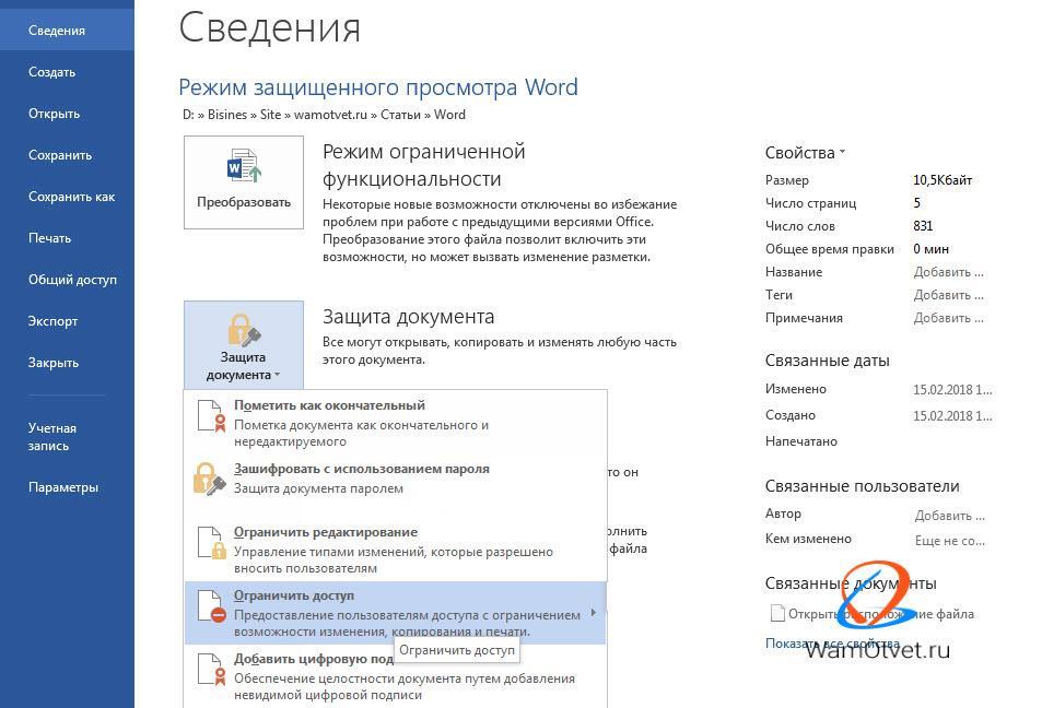 Как защитить документ Ворд от копирования