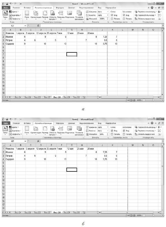 Рис. 8.6. Изменение масштаба для печати