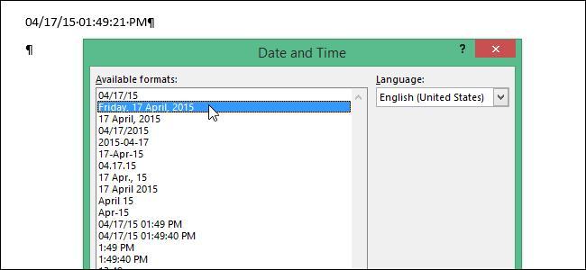 Настраиваем формат даты в Word