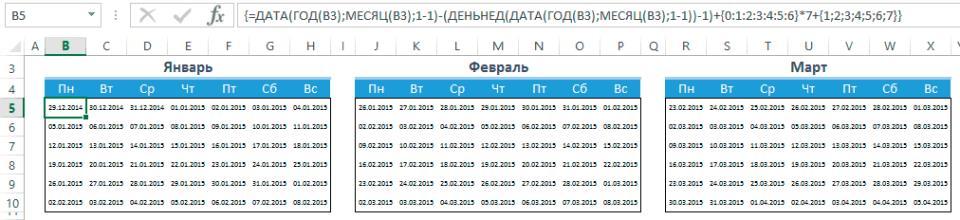 Заполнение календаря числами