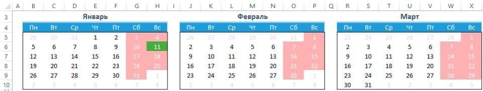 Форматирование календаря