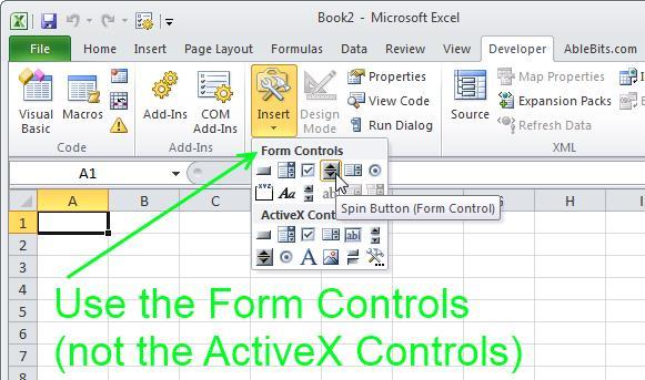 Интерактивные элементы в Excel