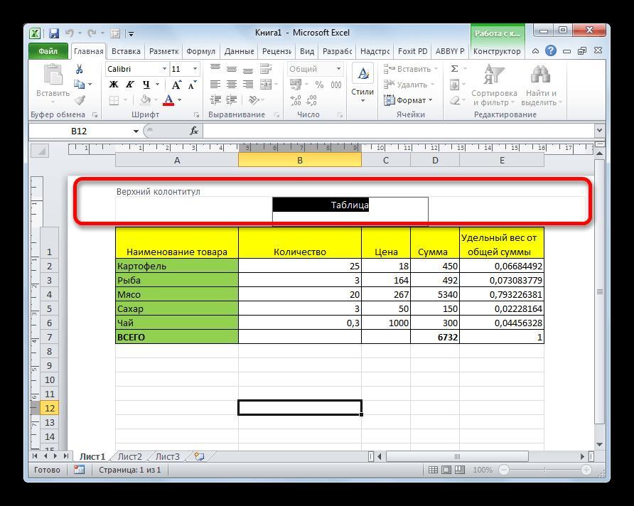 Колонтитул в Microsoft Excel