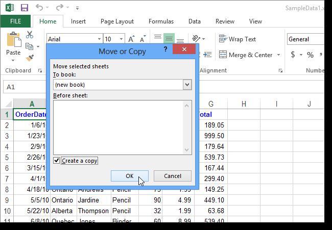 Переместить или скопировать лист в Excel