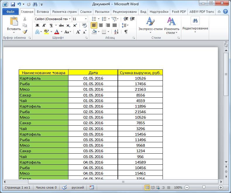 Таблица вставлена в Word как изображение