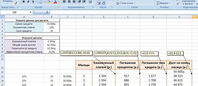 Кредитный калькулятор аннуитетного графика платежей в Excel