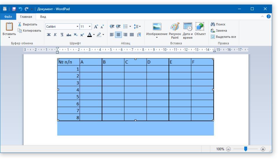 измененный размер таблицы в WordPad