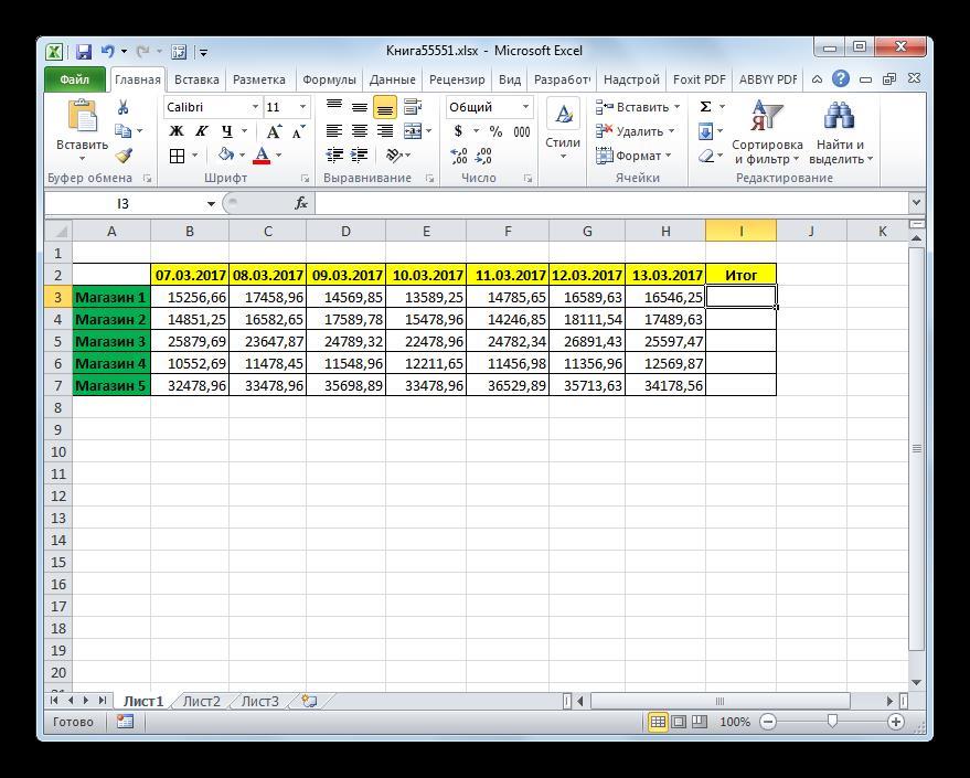 Таблица дохода магазинов в Microsoft Excel