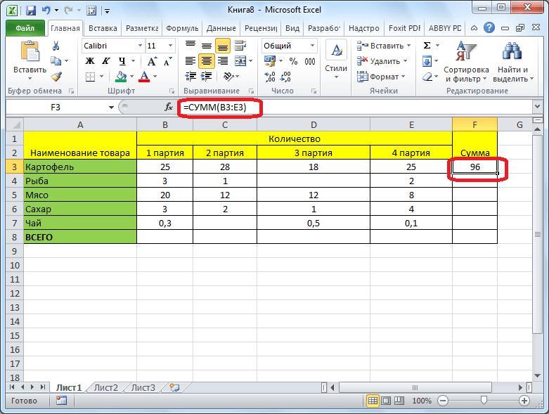Результат автосуммы в Microsoft Excel
