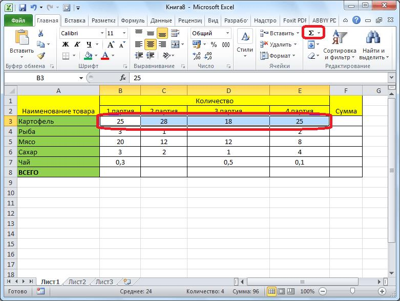 Автосумма ячеек в Microsoft Excel