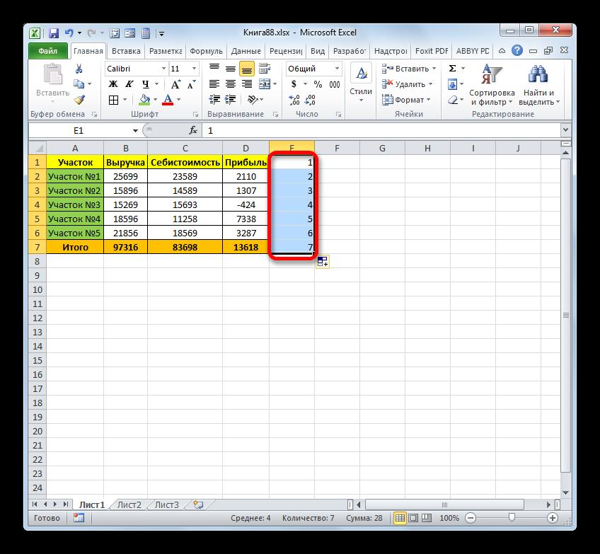 Столбец заполнен числами по порядку с помощью маркера заполнения в Microsoft Excel