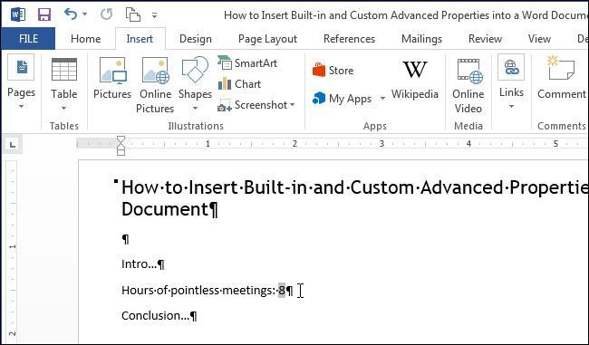 Вставляем свойства в документ Word