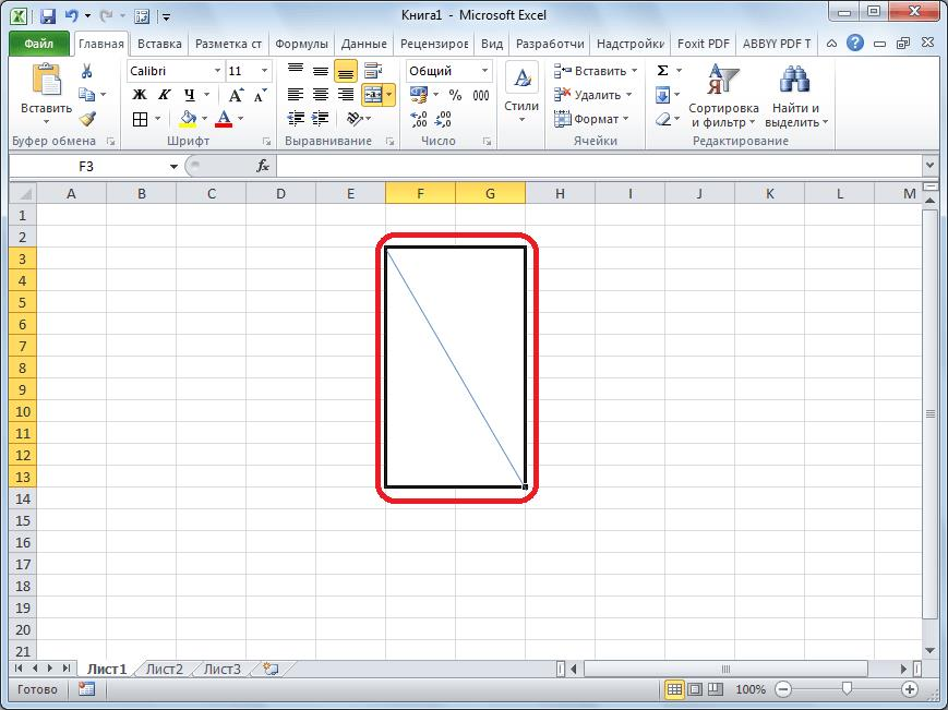 Линия разбивает ячейку в Microsoft Excel