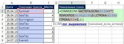Рис. 19.8. Функция ЧАСТОТА размещена в аргументе лог_выражение функции ЕСЛИ