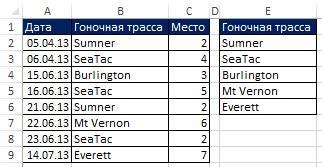 Рис. 19.2. Excel выводит имя поля в ячейку Е1 и уникальный список в ячейки ниже