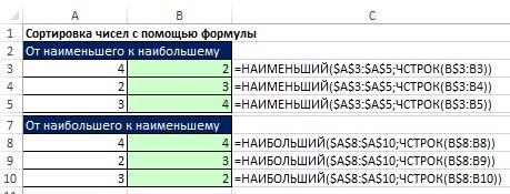 Рис. 19.23. Формулы сортировки чисел