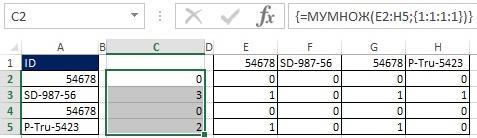 Рис. 19.36. Выбрав диапазон С2_С5 и введя функцию массива МУМНОЖ