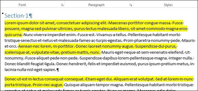 Копирование выделенных цветом фрагментов в Word
