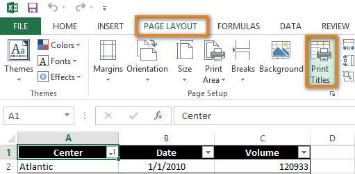 Печать заголовков в Excel