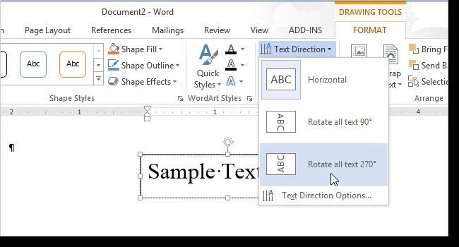 Изменяем направление текста в Word