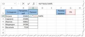 Формула расчета процента от числа