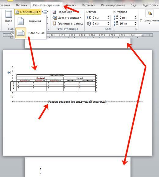 Смена ориентации для страницы в документе