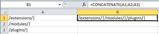 Склеивание нескольких ячеек в одну в Excel