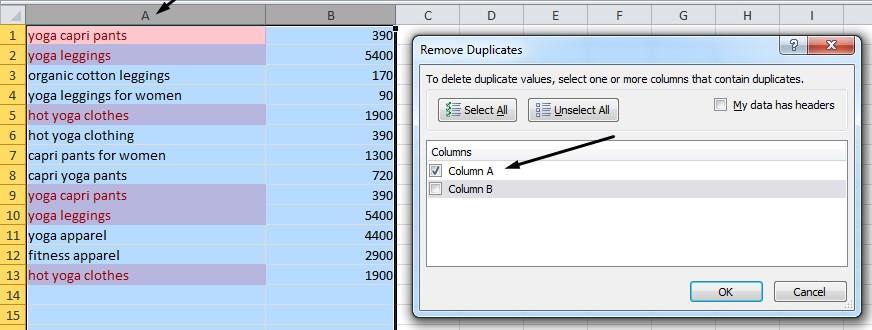 Удаление дубликатов в Excel