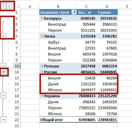 svernut stroki 4 Учимся как скрыть строки в Excel и как скрыть столбцы в Excel, просто и понятно!