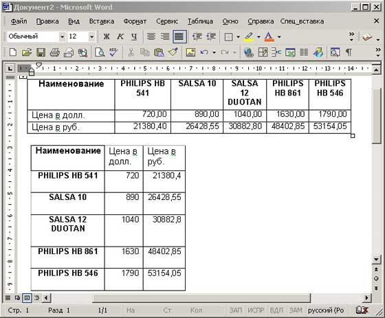 Рис. 10. Результат вставки транспонированной таблицы в Word