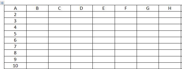 Строки и столбцы таблиц word
