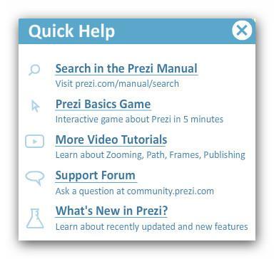 Окно быстрой помощи Prezi.com