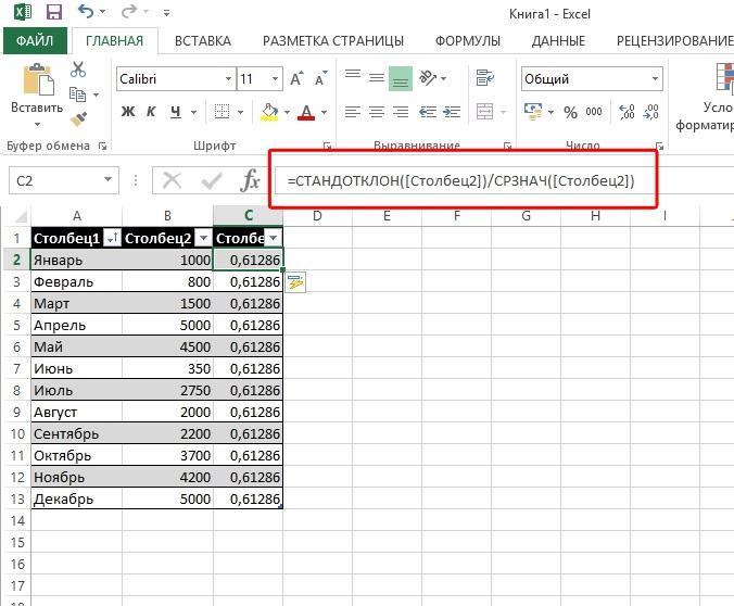 Excel Формула Коэффициент вариации