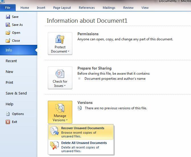 Word2010 - восстанвление несохраненных документов