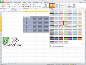 Шаблон форматирования таблицы Excel