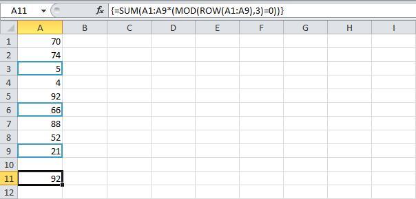 Суммирование n-ой строки в Excel