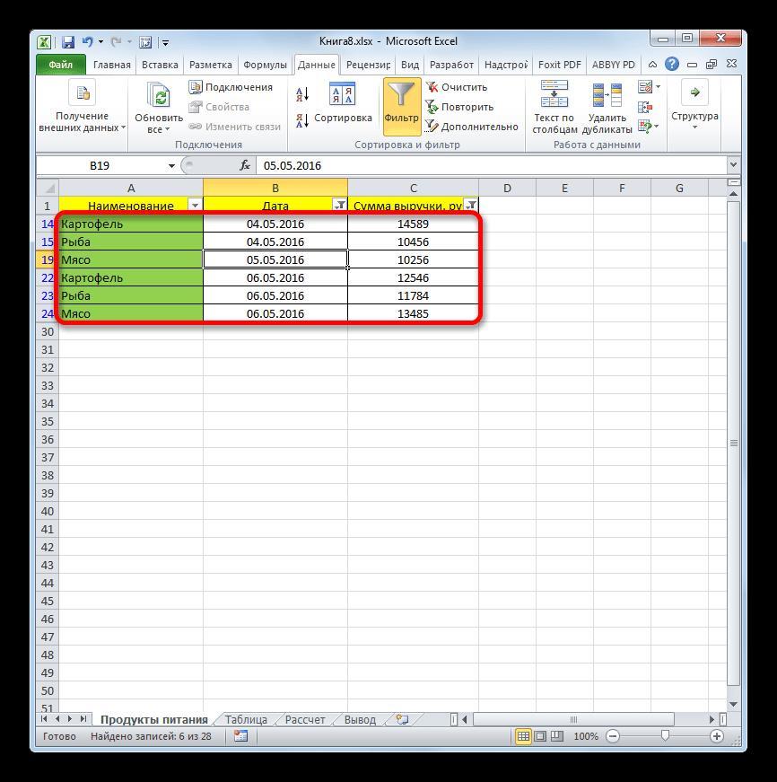 Результаты фильтрации по сумме и дате в Microsoft Excel