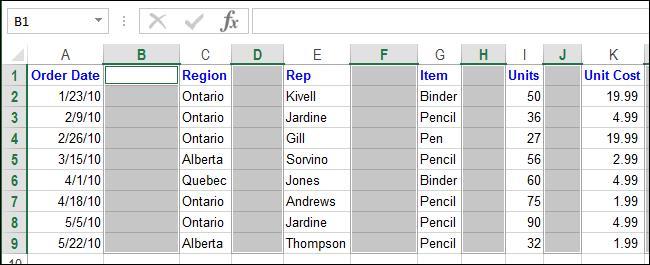 Удалить пустой столбец или строку в Excel