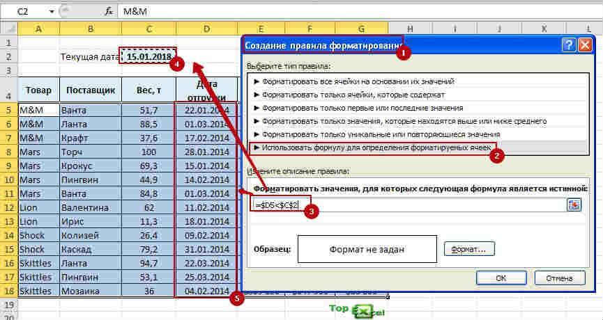 Podsvetka dat 5 Как подсветить сроки и даты в ячейках в Excel?