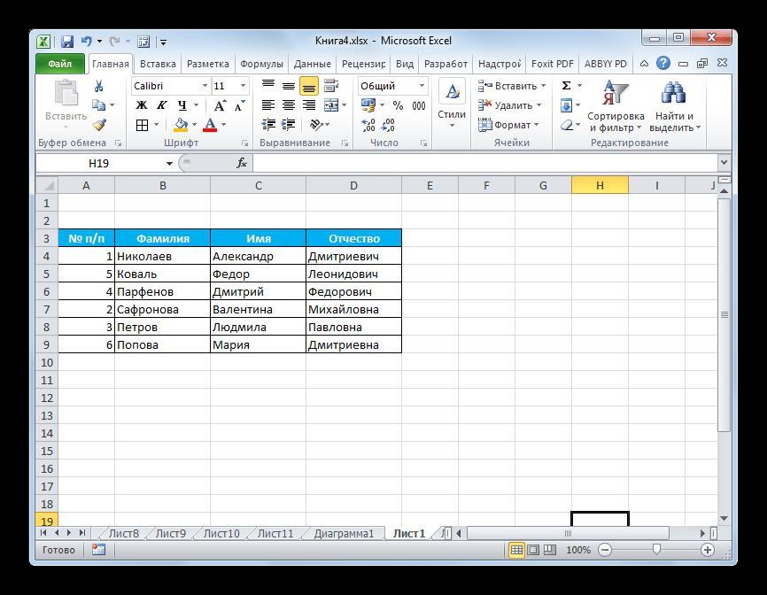Ячейки перемещены в Microsoft Excel