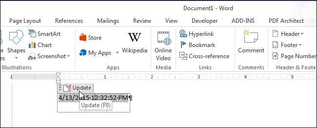 Вставка форматированной даты в Word
