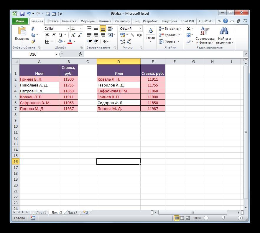 Повторяющиеся значения выделены в Microsoft Excel