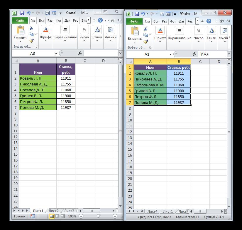 Сравнение таблиц в двух книгах в Microsoft Excel