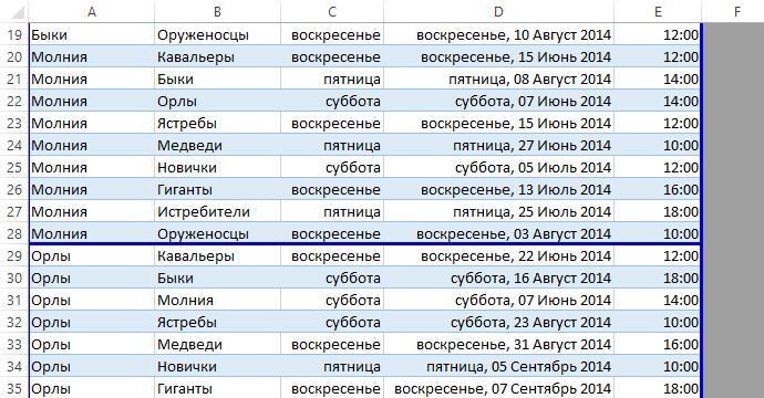 Вставка разрывов страниц в Excel