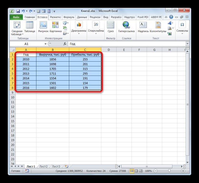 Выделение таблицы в Microsoft Excel