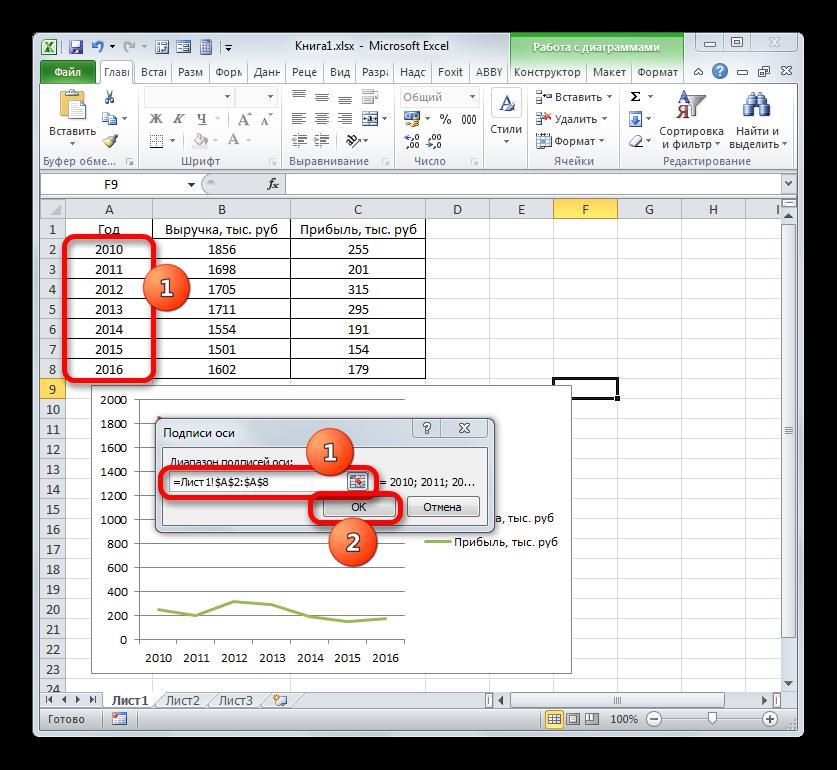 Окно изменения подписи оси в Microsoft Excel