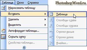 Вставить таблицу в Word 2003