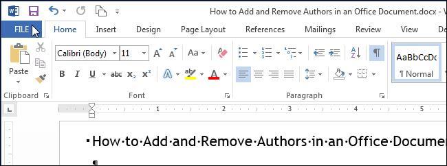 Добавляем и убираем автора документа в Word