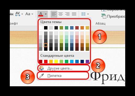 Элементы подробной настройки цвета текста в PowerPoint